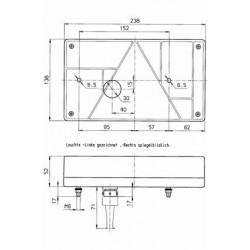 Cabochon 6 fonctions côté gauche 238 x 138 mm
