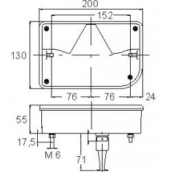 Cabochon 6 fonctions côté droit 200 x 138mm