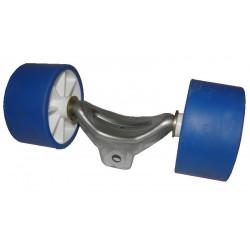Ensemble de 2 galets bi-matière bleu/blanc diamètre 100mm CBS pour chandelle 40x40mm