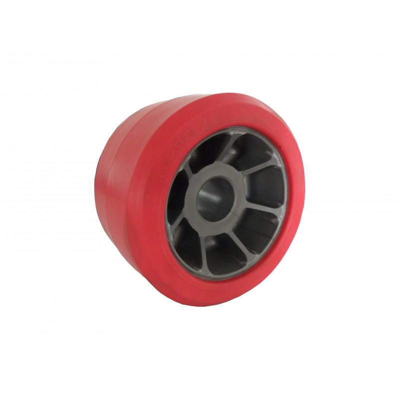 Galet bi matière rouge /gris diamètre 90 pour remorque ROCCA