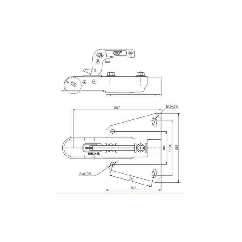 Tête d'attelage Steelpress ZSK sur platine en V pour timon en V