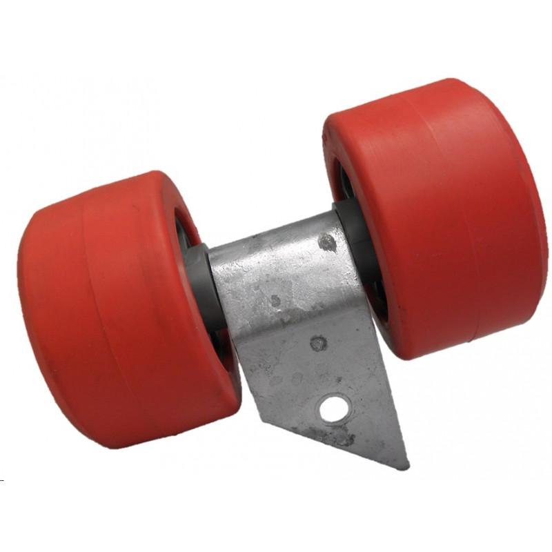 Ensemble de 2 galets bi-matière gris/rouge diamètre 90mm ROCCA pour chandelle 40x40mm