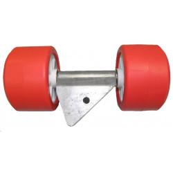 Ensemble 2 galets bi-matière orange/blanc diamètre 120mm MECANOREM pour chandelle 40x40mm