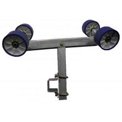 Balancier double pivotant 4 galets 100mm GM1 avec chandelle 40x40x400mm pour tube en 40x80mm