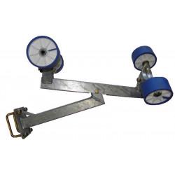 Kit de centrage 4 galets bi-matière bleu/blanc diamètre 100mm pour traverse arrière 80x40mm