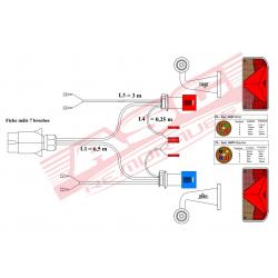 Kit éclairage 6 fonctions avec faisceau 6,5 m + veilleuses